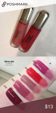 Bundle Revlon ultra HD matte lipcolor color:600 and 625. Only try once. Revlon Makeup Lipstick Revlon Matte, Revlon Lipstick, Revlon Makeup, Lipstick Swatches, Drugstore Makeup, Makeup Lipstick, Lipsticks, Nyx, Makeup Geek