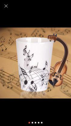 Creative Handgrip Violin Ceramic Cup Personality Music Note Sensitive Mug Cup Coffee Tea Milk Cup Unique Gift Cafe 300ml