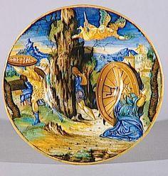 Musée d'Ecouen- Assiette avec le martyr de sainte Catherine. AVELLI XANTO FRANCESCO (actif vers 1530) ECL2344. URBINO (origine). Faïence, majolique.