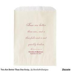 Two Are Better Than One Scripture Ecru Favor Bag