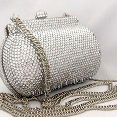 Silver Crystal Swarovski Clutch Bag, Crystal Evening Purse, Bling Luxury Clutch