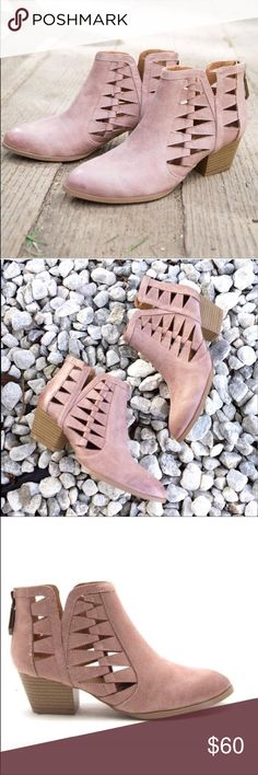 Blush Pink Cutout Booties Gorgeous and adorable blush pink cutout booties. Back zip, suede-like material, 2 inch heel. WILA Shoes Ankle Boots & Booties