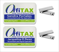 "Name Badges Name Badges made from aluminum offered in gold and silver metallic finishes in brushed, matte, and satin and white color. 2"" x 3"" White .040"" Aluminum Name Badge  with 3/16"" radius round corners and 1/2""x 1-3/4"" Silver  magnetic clasp."