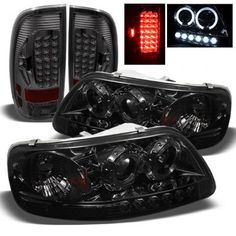 Ford Smoked Projector Headlights and LED Tail Lights 1997 Ford F350, Ford 4x4, Ford Trucks, Ford F150 Accessories, Truck Accessories, Jeep Patriot Interior, Ford F150 King Ranch, Teen Driver, Best Car Insurance