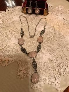 Art Deco Sterling Rutilated Rock Crystal Necklace/Earrings