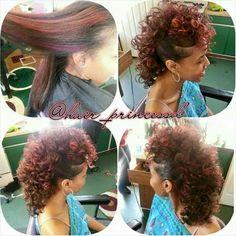 Pin by Sandee on Hair Hair in 2019 Mohawk Hairstyles, Summer Hairstyles, Pretty Hairstyles, Curly Hair Styles, Natural Hair Styles, Natural Mohawk, Mohawk Styles, Heart Hair, Hair Laid