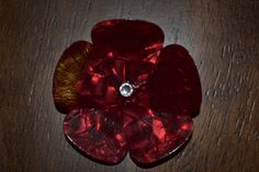 Red Flower Brooch Made from Guitar Picks with by PrattsPicks, $6.00