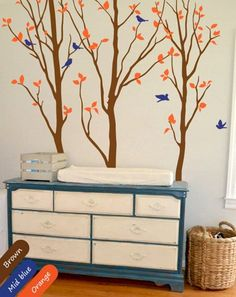 Nursery Tree Decal Long Trees Wall Mural Birch Sticker Removable Vinyl Decoration Baby