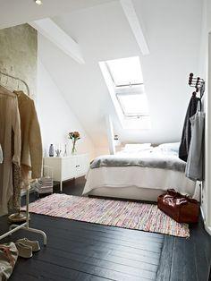 attic bedroom - love the black floor & skylight Painted Floorboards, Painted Floors, Black Floorboards, Home Bedroom, Bedroom Decor, Design Bedroom, Eaves Bedroom, Black Wood Floors, Dark Flooring