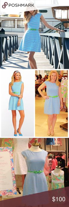 """[Lilly Pulitzer] Briella Dress Fit, flare & fabulous! This ponte fit and flare dress is soft, stretchy & comfortable, but is polished for everyday wear or a special event. The Briella will become your new go-to hourglass dress. Cap Sleeve Dress With Full Skirt. Fully lined. Worn 1x. Washed in cold water & air dried. True to size. Pattern/Color: Flutter Blue Chin Chin Stripe with a cursive """"lilly"""" throughout the dress. Lilly Pulitzer Dresses"""