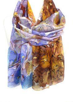 Purple Scarf. Silk Scarf. Fall Leaves Scarf. Hand Painted Silk Shawl. Birthday Gift for Her. Woman Silk Wrap. 18x71in (45x180cm) Ready2Ship