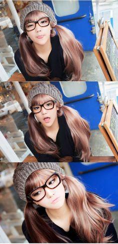 half  half boba coffee hair wig - Taobao