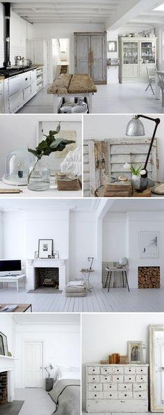 How I love the white and serene home of UK photographer Paul Massey. His home in Crouch End, London has the perfect mix of beautiful vintage treasures and layers up natural textures and fabrics. The hits of rustic wood and tarnished steel add a beauty and softness. http://www.myblackbookparis.com/?paged=9