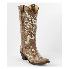 Corral Sequin Cowboy Boot ($210) ❤ liked on Polyvore featuring shoes, boots, brown, western boots, brown cowgirl boots, leather boots, cowboy boots and corral boots