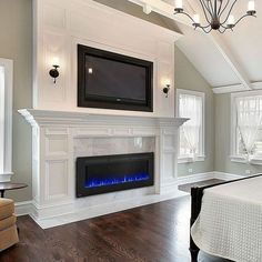Napoleon Allure Linear Wall Mount Electric Fireplace - With Heater - Imagine transforming a room simply by hanging something. You can do that with the Napoleon Allure™ 60 Electric Fireplace. Tv Over Fireplace, Linear Fireplace, Fireplace Built Ins, Bedroom Fireplace, Home Fireplace, Faux Fireplace, Fireplace Remodel, Living Room With Fireplace, Fireplace Surrounds