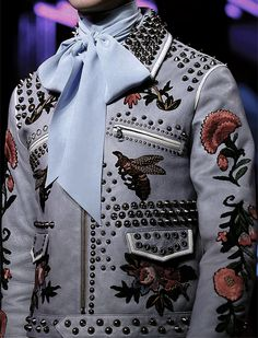 "vidlamode: "" the studded floral leather jacket 
