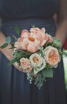 bridesmaid bouquet peony, david austin roses, ranunculus, succulents, mint, rosemary, eucalyptus