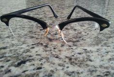 Vintage Art Craft  Black Clubmaster Type 12K G.F. Eyeglass Frame  SOLD