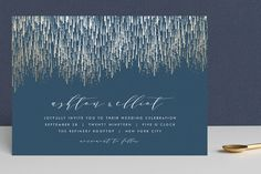"""Sparkle + Shine"" - Traditional, Elegant Foil-pressed Wedding Invitations in Gold by Kristie Kern."
