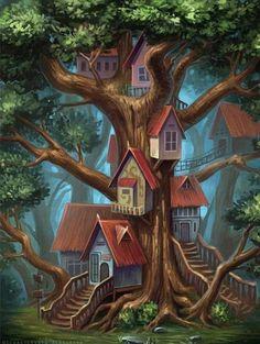 New fairy tree house illustration fantasy art Ideas Fantasy Artwork, Birthday Drawing, Tree House Drawing, Art Fantaisiste, Fairy Tree Houses, House Illustration, Digital Illustration, 5d Diamond Painting, Fantasy Landscape