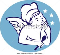 illustration  of a cook,baker or chef child angel holding a spoon and thinking of food #baker #retro #illustration