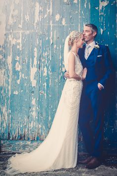 Bride & Groom portrait - Image by Rocksalt Photography - Esme by Jenny Packham For A Traditional Wedding In Wales With A Navy And Silver Colour Scheme And Bridesmaids In Navy Dresses From BHS With Images From Rocksalt Photography