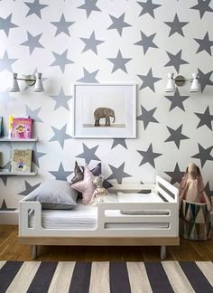 Star Wall Treatment | Modern Furniture | Gray White Color | Kids Bedroom | Child…