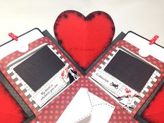 Caixa explosion box romântica (detalhes das abas decoradas)