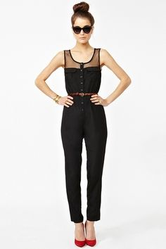 Black Jumpsuit With Red Heels | Fashion Ql