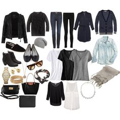 Wardrobe capsule, wardrobe ideas and travel wardrobe packing lists, pac Minimalist Packing, Minimalist Wardrobe, Travel Capsule, Travel Packing, Europe Packing, Weekend Packing, Vacation Packing, Mode Cool, Travel Wardrobe