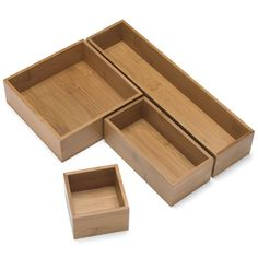 The Container Store - Modular Bamboo Drawer Organizers. Might be good for organizing a junk drawer or bathroom drawers. Bathroom Drawer Organization, Diy Drawer Organizer, Bathroom Drawers, Bamboo Bathroom, Drawer Organisers, Organizing Drawers, Storage Organizers, Drawer Unit, Kitchen Drawers