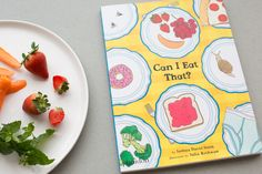 Product styling and photography of Phaidon picture book for Coolfoodstuff, styled with strawberries, carrots and mint leaves Can I Eat, Creative Studio, Strawberries, Carrots, Mint, Branding, Leaves, Book, Pictures