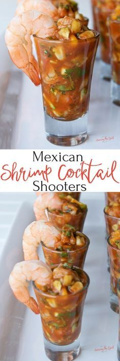 This recipe for Mexican shrimp cocktail shooters is a guaranteed run away hit of an appetizer. Perfectly cooked sous vide shrimp married with crisp cucumber, juicy mango, bright cilantro, tangy fresh lime juice, sweet corn and the connivence of store boug Mexican Salsa Recipes, Mexican Dishes, Fish Recipes, Seafood Recipes, Cooking Recipes, Healthy Recipes, Appetizers For Party, Appetizer Recipes, Party Snacks