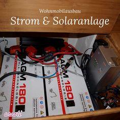 Batterie und Solaranlage - selbst geplant und eingebaut. Nicht hübsch, funktioniert aber :-)