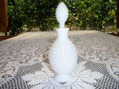 Fenton white hobnail cologne or perfume bottle fifties design.