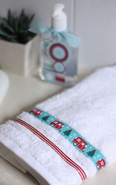 spruce up a hand towel in a couple minutes!