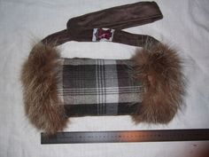 Muffs - nice Muff for warm hands with racoon and real tartan plaid-must have for winter times!