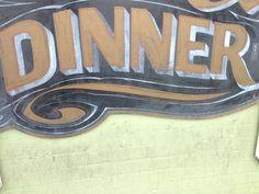 Een woord: DINNER   Hotel Utah Saloon, San Francisco CA 2013.  #dinnersign #hotelutahsaloon #coolfonts #jarrellish #eenwoord
