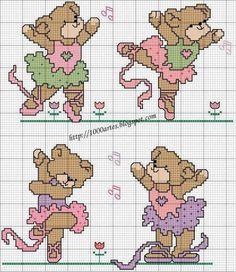 Ballet teddy bears cross stitch