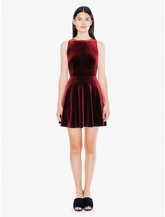 A-line velvet dress featuring a deep pointed scoop back, a fitted waistline and revealing armholes. Velvet Skater Dress, American Apparel, Fall Outfits, Fashion Beauty, Party Dress, High Neck Dress, Rompers, Formal Dresses, Clothes