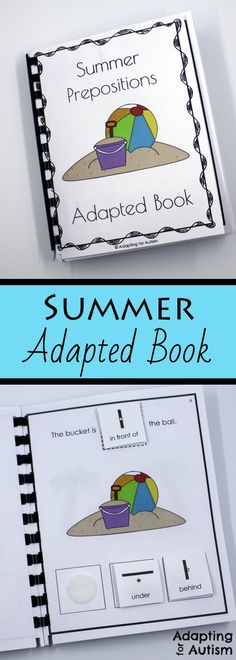 Use this summer adapted book to practice prepositions with your special education students.  All pages and answer cards include visual aids to support students with autism.  Fun to use as a work task or in speech therapy.