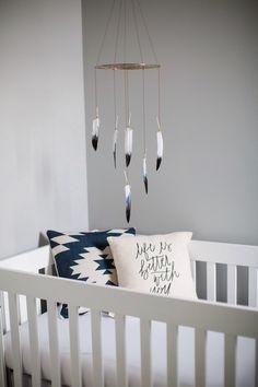Black White Dreamcatcher Mobile - Brown Boho Bohemian Baby Tribal Nursery Girl Boy Feathers by WhitehallFarmMD on Etsy https://www.etsy.com/listing/222274051/black-white-dreamcatcher-mobile-brown