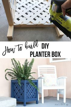 This easy DIY Planter box is so pretty! Also, very cheap to make! Perfect for indoors or outdoor! I think my patio needs this! SO perfect and pretty! # Easy DIY outdoor DIY Lattice Planter Box - Easy DIY Planter Box Using Vinyl Lattice Pot Mason Diy, Mason Jar Crafts, Mason Jars, Diy Simple, Easy Diy, Woodworking Furniture, Woodworking Projects, Woodworking Jigs, Woodworking Magazine