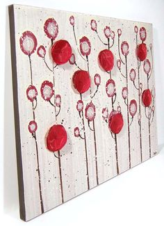 - Red Poppy Painting - Original Acrylic on Canvas Art
