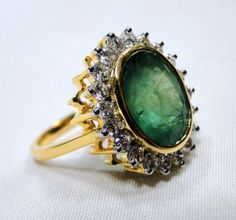 Emerald Ring vintage antique 18 K solid gold by TRIBALEXPORT, $2845.00