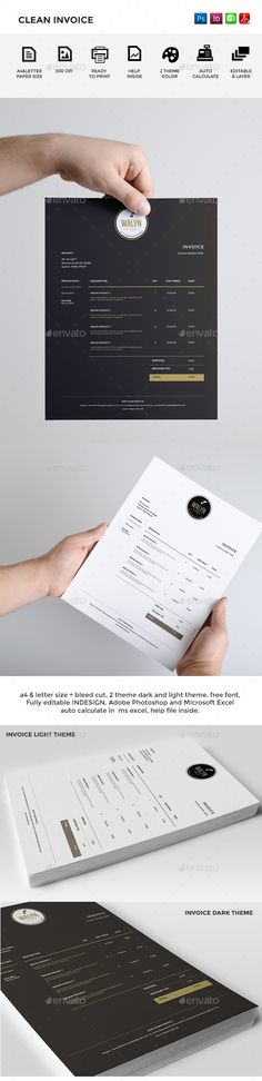 Clean Invoice Template | #invoice #invoicetemplate #invoicedesign | Download: http://graphicriver.net/item/clean-invoice/9054399?ref=ksioks