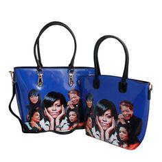 Blue Inspirational Women Handbag Set Coretta Scott King, Maya Angelou, Oprah Winfrey, Michelle Obama, New Shop, Tote Handbags, Patent Leather, Shoulder Strap, Blue