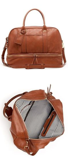 Cognac Weekender Bag is a hybrid travel tote/gym bag that comes complete with a separate bottom compartment for shoes.