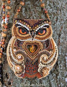 Forest  owl and winter. Bead Embroidery Art by ElenNoel on Etsy