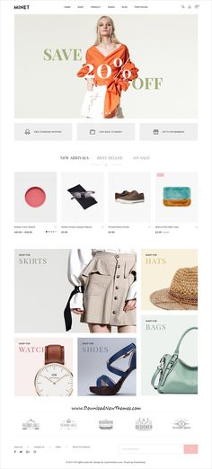 Minet is clean, #minimalist and modern design responsive WooCommerce WordPress #template for stylish fashion #shop eCommerce website with 9 different homepage layouts to live preview & download click on Visit